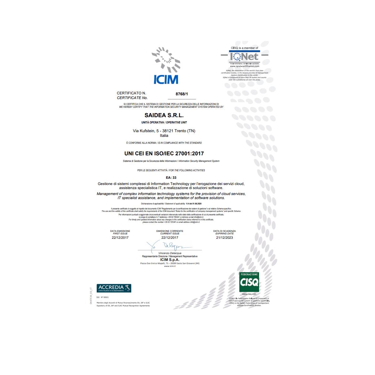certificazione iso2017